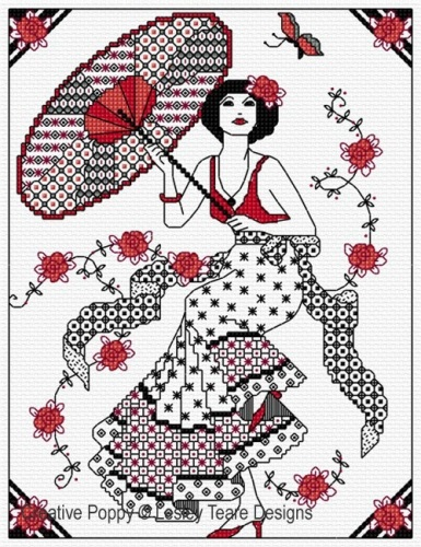 click here to view larger image of Blackwork Lady With Parasol (chart)