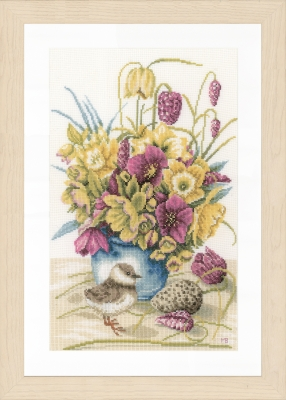 Flowers & Lapwing by Marjolein Bastin - click here for more details about counted cross stitch kit