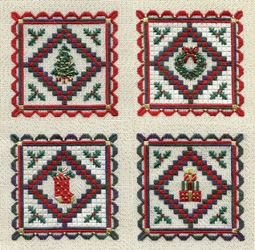 click here to view larger image of Miniature Holiday Quilts (Includes Embellishments) (counted canvas chart)