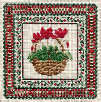 click here to view larger image of Red Cyclamen (Includes Embellishments) (counted canvas chart)