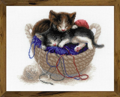 click here to view larger image of Kittens In Basket (counted cross stitch kit)