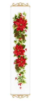 click here to view larger image of Poinsettia Bell Pull (counted cross stitch kit)