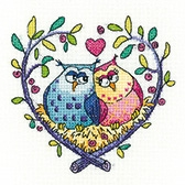 click here to view larger image of Love Owls - Birds of a Feather by Karen Carter (Aida) (counted cross stitch kit)