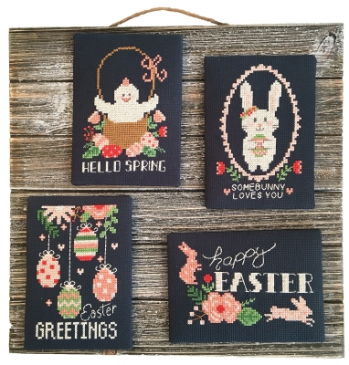 click here to view larger image of Easter Chalkboard Greetings (4 designs) (chart)