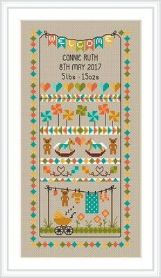 click here to view larger image of Baby Bunting Birth Sampler (chart)