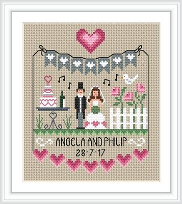 click here to view larger image of Pink Hearts Wedding Sampler (chart)