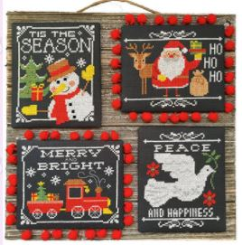 click here to view larger image of Christmas Chalkboard Greetings (4 designs) (chart)
