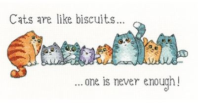click here to view larger image of Cats and Biscuits - 27ct Evenweave (counted cross stitch kit)