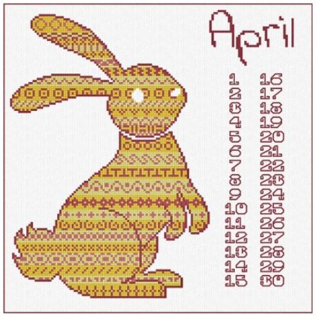 click here to view larger image of Animal Calendar - April Rabbit (chart)