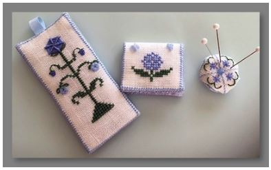 click here to view larger image of Garden Blues Set (counted cross stitch kit)