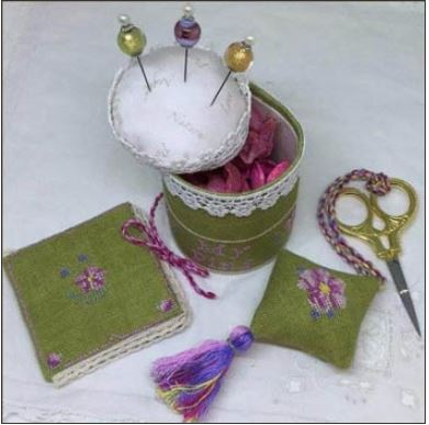 click here to view larger image of Cherry Blossom Pincushion Sewing Set (chart)