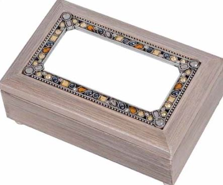 click here to view larger image of Jeweled Petite Rectangular Grey Music Box (accessory)