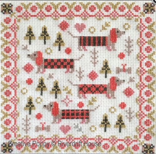 click here to view larger image of Mini Long Dogs (counted cross stitch kit)