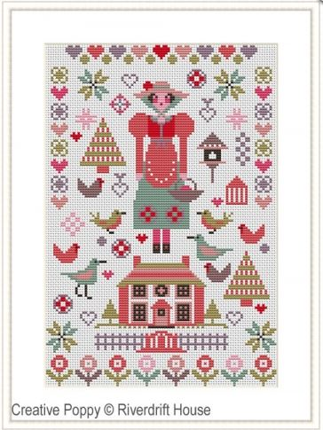click here to view larger image of Pink House Mini Sampler (counted cross stitch kit)
