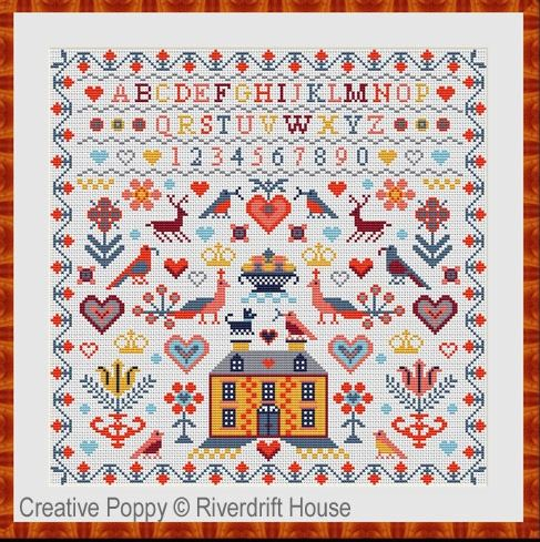 click here to view larger image of Yellow House Sampler (counted cross stitch kit)