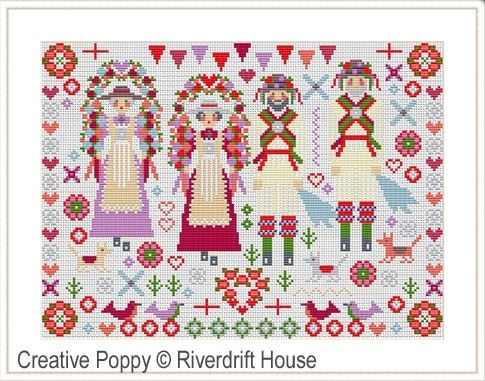 click here to view larger image of Morris Folksie Sampler (counted cross stitch kit)