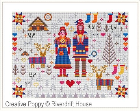 click here to view larger image of Saami Folksie Sampler (counted cross stitch kit)