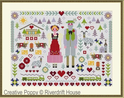 click here to view larger image of Swiss Folksie Sampler (counted cross stitch kit)