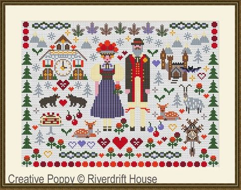 click here to view larger image of Black Forest Sampler (counted cross stitch kit)
