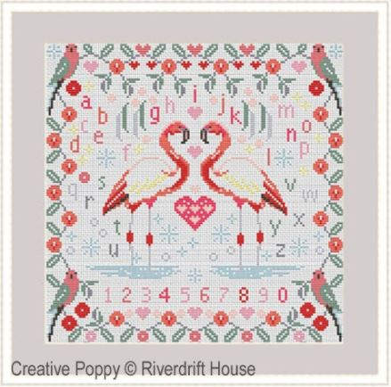 click here to view larger image of Flamingo Sampler (counted cross stitch kit)