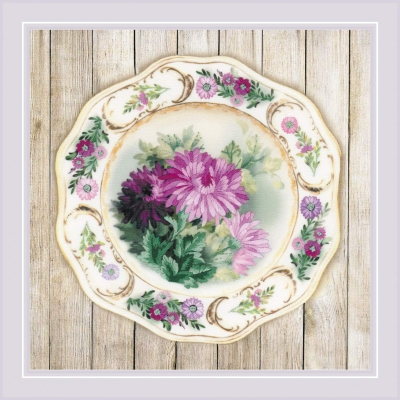 click here to view larger image of Plate with Chrysanthemums (stamped cross stitch kit)