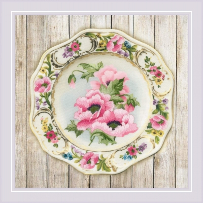 click here to view larger image of Plate with Pink Poppies (stamped cross stitch kit)