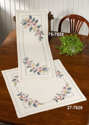 click here to view larger image of Roses Table Topper (top) (counted cross stitch kit)