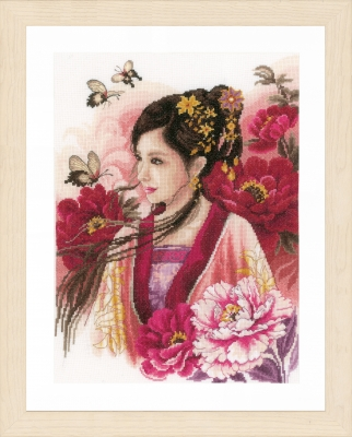 click here to view larger image of Asian Lady in Pink (27ct) (counted cross stitch kit)