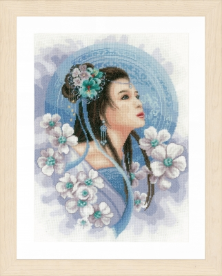 click here to view larger image of Asian Lady in Blue (27ct) (counted cross stitch kit)