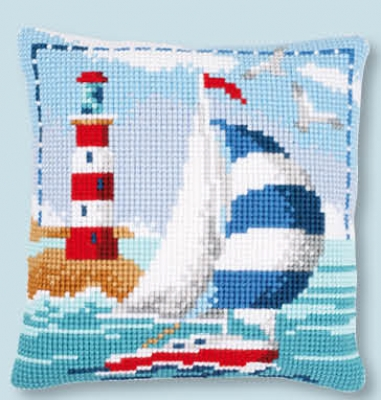 click here to view larger image of Lighthouse Cushion (counted cross stitch kit)
