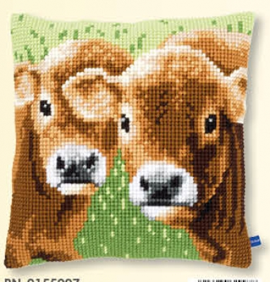 click here to view larger image of Two Calves - Cushion (counted cross stitch kit)