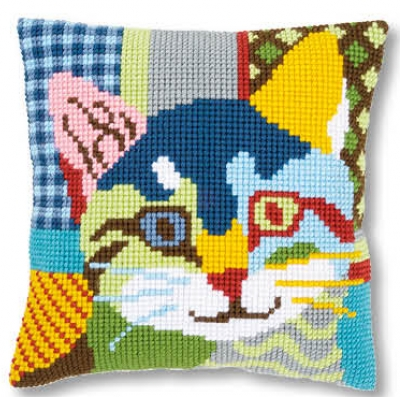 click here to view larger image of Modern Cat - Cushion (counted cross stitch kit)