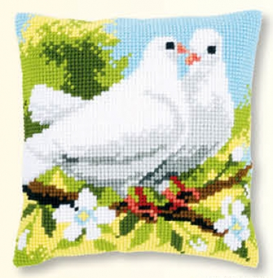 click here to view larger image of White Pigeons - Cushion (counted cross stitch kit)