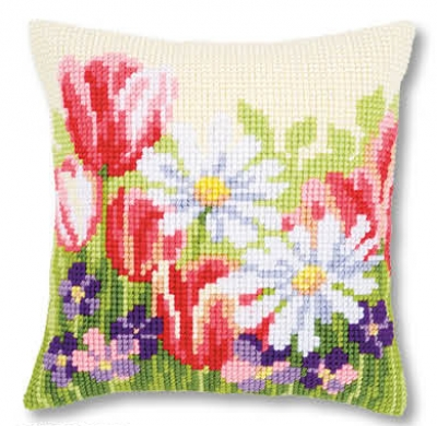 click here to view larger image of Spring Flowers - Cushion (counted cross stitch kit)