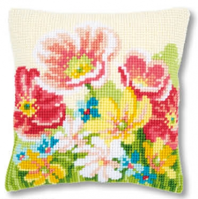 click here to view larger image of Summer Flowers - Cushion (counted cross stitch kit)