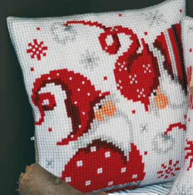 click here to view larger image of Christmas Gnome I - Cushion (counted cross stitch kit)