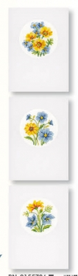click here to view larger image of Blue and Yellow Flowers (Set of 3 Greeting Cards) (counted cross stitch kit)
