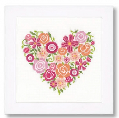 click here to view larger image of Floral Heart (counted cross stitch kit)