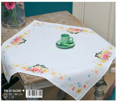 click here to view larger image of Tits & Spring Flowers - Tablecloth (counted cross stitch kit)