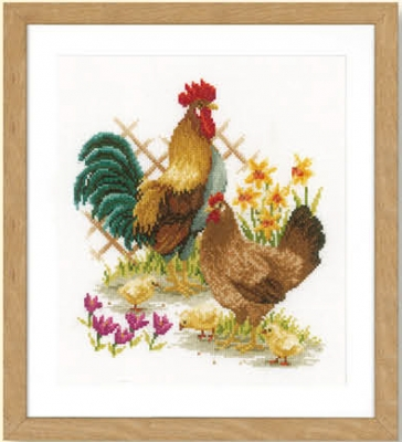 click here to view larger image of Chicken Family (counted cross stitch kit)