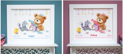 click here to view larger image of Bear & Present - Birth Announcement (counted cross stitch kit)