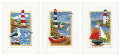 click here to view larger image of Miniature Lighthouse - Set of 3 (counted cross stitch kit)