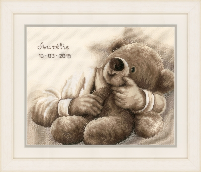 click here to view larger image of Teddy Bear - Birth Announcement (counted cross stitch kit)