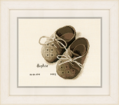 click here to view larger image of First Shoes - Birth Announcement (counted cross stitch kit)