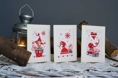 click here to view larger image of Christmas Gnomes Greeting Cards - Set of 3 (chunky cross stitch kit)