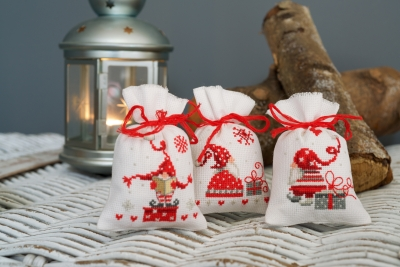 click here to view larger image of Christmas Gnomes Bags (chunky cross stitch kit)