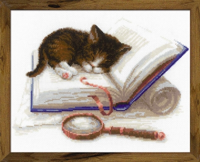 click here to view larger image of Kitten on the Book (stamped cross stitch kit)