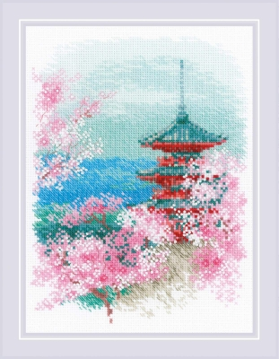 click here to view larger image of Sakura - Pagoda (counted cross stitch kit)