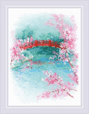 click here to view larger image of Sakura - Bridge (counted cross stitch kit)