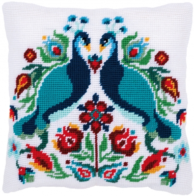 click here to view larger image of Pauline, the Peacock - Tapestry Cushion by La Maison Victor (counted cross stitch kit)